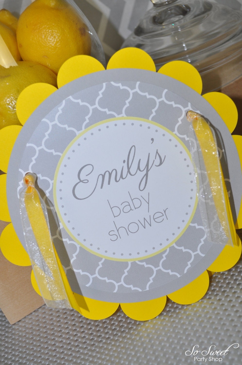 baby shower door sign gray and yellow boy or girl baby