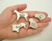 Mini cookie / pastry cutter lot with handles - Set of 4 - Horse, Lion and 2 Cats - Vintage Kitchen Collectible - cheesegrits