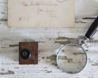 vintage letterpress hand stamp ink print block alphabet letter D