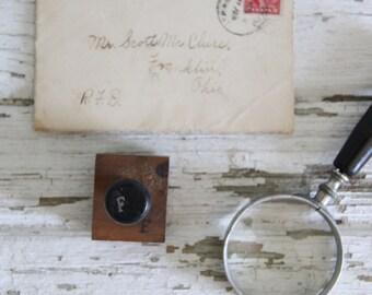 vintage letterpress hand stamp ink print block alphabet letter F