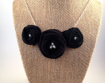 Black Fabric Rose Necklace