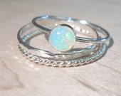 Opal ring Stacking Set - Sterling silver opal rings - Natural Opal ring-Ethiopian Opal rings set - October birthstone ring - Bridesmaid gift