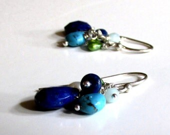 Blues - Artisan Handmade Earrings, Sterling Silver, Turquoise, Chalcedony, Pearls, and Lapis Lazuli