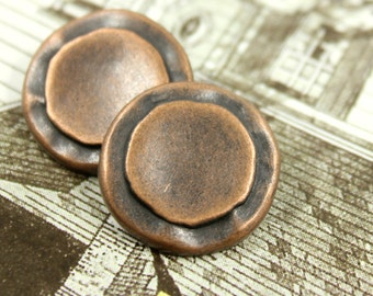 Metal Buttons - Rustic Circles Shank Metal Buttons in Copper Color. 0.91 inch, 6  pcs