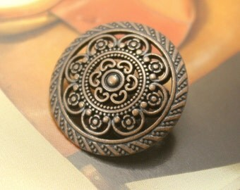 Metal Buttons - Lacework Filigree Metal Buttons , Maroon Copper Color , Shank , 0.83 inch , 10 pcs