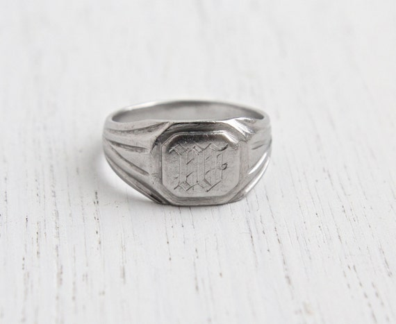 M Letter In Ring Vintage Initial...