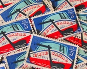 Erie Barge Canal 50 US Vintage Postage Stamps 1960s 5-Cent Western New York Upstate NY Buffalo Albany Red White Blue Scrapbooking Ephemera