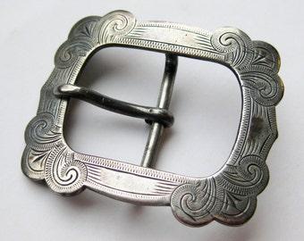 Vintage 40s Art Deco Solid Sterling Silver Fancy Belt Buckle