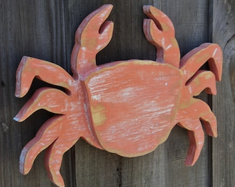 Petite Coral Crab, Nautical Sign, Mantle Display, Coastal Living, Wooden Wall Art