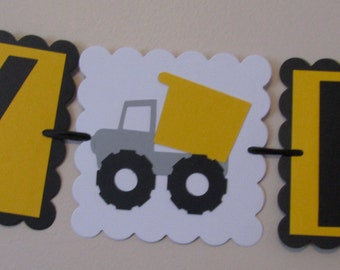 Yellow and Black Dump truck Happy Birthday Banner Construction