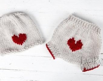 Little Love Valentines Knit Hat SET