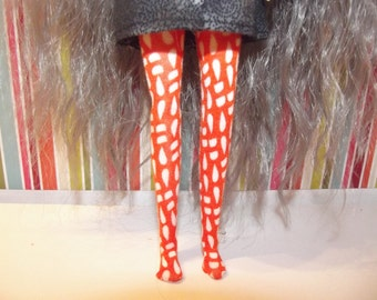 Orange with white dots leggins tights for Pullip doll