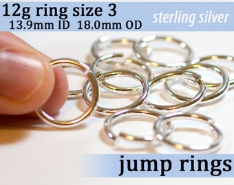 1 piece 12g ring shank US size 3 sterling silver jump rings 12gsize3 jumprings 925 links