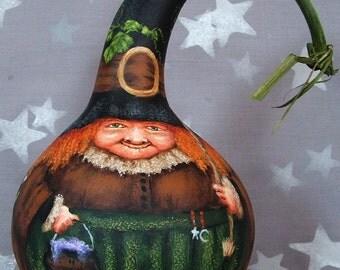 SALE lower price Wonderful Halloween, witch gourd, original art, 8 inches tall