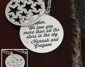 I Love You More Than All The Stars In The Sky - Mom / Grandma Necklace - Sterling Silver