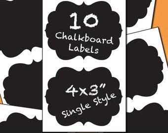 Chalkboard Labels | 10 Curvy Frame Chalk Board Sticker Labels, 4x3 Single Style, Vinyl Labels, Kitchen Decor, Blackboard Label, Jar Labels