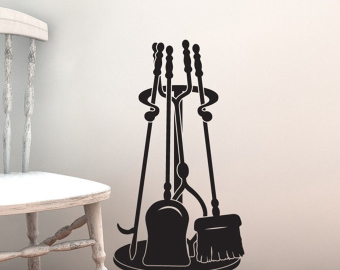 Fireplace Decal Tool Set, Wall Decal: Poker, Shovel, Broom, Tongs, & Stand, Fireplace Decor Accessories, Faux Black Wrought Iron, Fall Decor