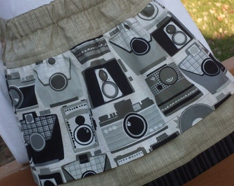 Buy Any 2 Skirts and Get 1 FREE, Say Cheese, Please! Dark Grey and Taupe Camera Skirt, Size 2, 3, 4, 5, 6, 7, 8, 9, 10, and 12