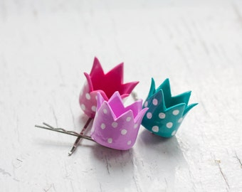 Hair bobby pin - Polka Dot Crown