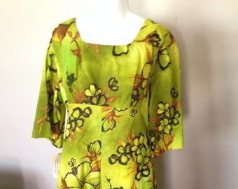 Vintage Ui-Maikai Hawaiian Tropical Dress 1960s NOS NWT