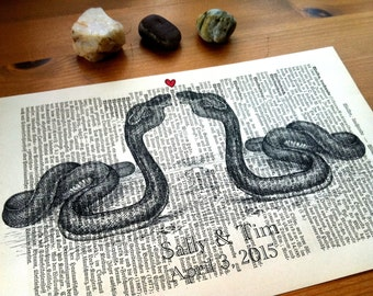 Cobra Sweet Love Wedding Anniversary Valentine Engagement Gift Personalized Art Print on Antique 1896 Dictionary Book Page