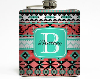 Personalized Flask Custom Name Initial Monogram Aztec Tribal Trendy Sorority Bridesmaid Gifts Stainless Steel 6 oz Liquor Hip Flask LC-1479