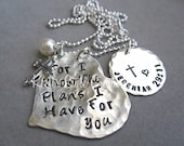 Silver Heart Hand Stamped For I know the plans I have for you/Graduation Necklace