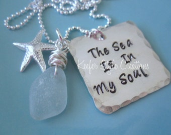 Hand Stamped Beach necklace with Sea glass starfish  charm