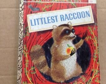 Vintage Little Golden Book Littlest Raccoon 1961 First A Edition