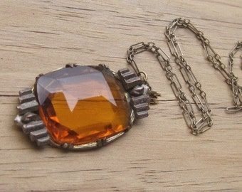 Antique Art Deco Amber Glass Pendant Brass Setting with Brass Paper Clip Type Etched Chain