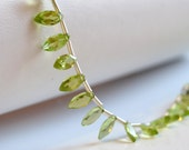 Genuine Peridot Marquise, AAA Gemstone Beads, Bright Lime Green Briolette, August Birthstone, Petite 7-8mm - 3.5 inch strand