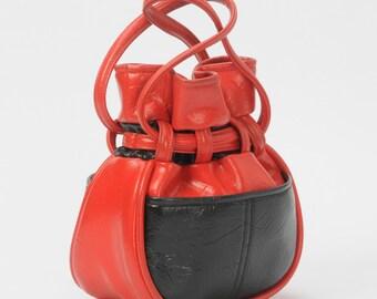 Red and Black Vinyl Pouch Purse Retro Handbag 1960's 1970's