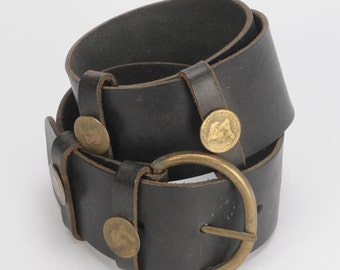 Rustic Leather Belt with Coins Queen Victoria and Brass Buckle