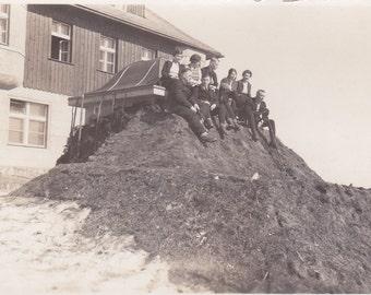Vintage Photo - Kids on a Hill - Vintage Photographm, Vernacular, Found Photo  (O)