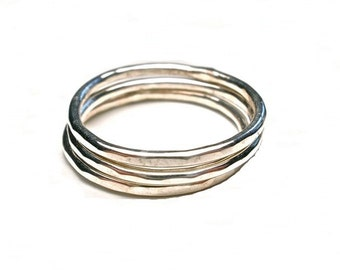 Textured Sterling Silver Stacking Rings in Your Size- Sold Separately- Silver Ring Bands