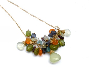 Mixed Gemstone Cluster Necklace- Prehnite, Iolite, Blue Topaz, Garnet, Carnelian, and Peridot