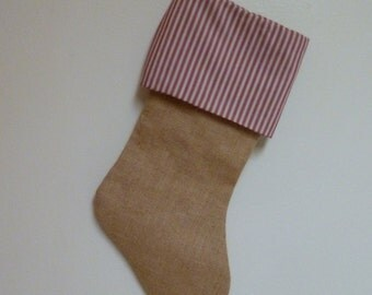 Christmas Stocking in Burlap= Striped Cuff