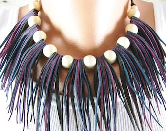 Leather Fringe Necklace - Tribal Necklace - Leather Jewelry - Tri  Color Leather Tassel - Cowboy - Southwest Necklace - Western Necklace