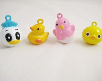 Chicken and Duck Collection - 4 Pieces - 1 Donald, 1 Yellow Ducky, 1 Pink Chick, 1 Yellow Duck Animal Jingle Bell Charms