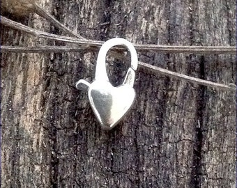 Sterling Silver Heart Lobster Clasp Sterling Silver Jewelry Supply Jewelry Findings