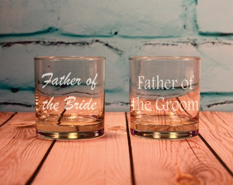 Father of the Bride and Father of the Groom Engraved Old Fashioned Glasses, Father Wedding Gift, Dad Wedding Gift, Thank You Parents