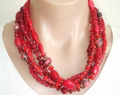 ON SALE Ashira Statement Torsade Necklace with Bright Rich Red Ocean Corals, Red Mosaic Turquoise - AshiraJewelry