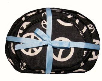 Personalized Black Peace Signs Cosmetic Case, Pencil Pouch, Craft Organizer Nesting Bags 3 Piece Set