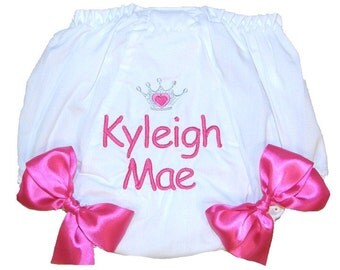 Personalized Baby Girl Diaper Cover, Bloomers Pink Princess Design Large Bows