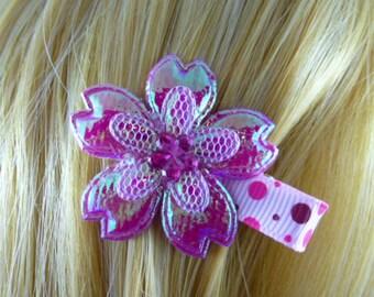 NEW - Iridescent Fushia Pink Flower Hair Clip, Hair Accessory, Hair Bow - HM11