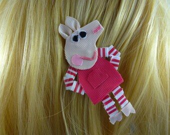 New - Peppa Pig Nickelodeon Nick Jr Inspired Ribbon Sculpture Hair Clip ...Hair Accessory ...Hairbow