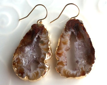 Geode Slice Earrings Edged in Gold