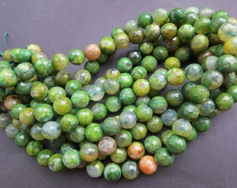 5 str -Dragon Veins Green Agate 10mm Round Faceted ball stone Beads-- 38pcs/Strand