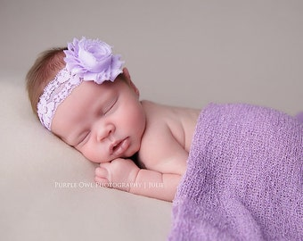 Lavender headband, baby headband, purple shabby flower on a purple lace headband, lavender flower headband, infant headband, baby hairband