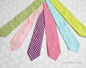 Boys Tie - Boys Ties - Boys Dot Tie - Boys Outfit - Boys Tie in Polka Dots - Your Choice of Green, Pink, Purple, Aqua, or Lime